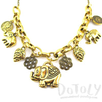 Abstract Elephant & Coin Shaped Charm Necklace in Gold