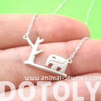 Abstract Elephant and Tree Silhouette Shaped Pendant Necklace in Silver | DOTOLY | DOTOLY