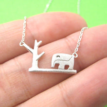 Abstract Elephant and Tree Silhouette Shaped Pendant Necklace in Silver
