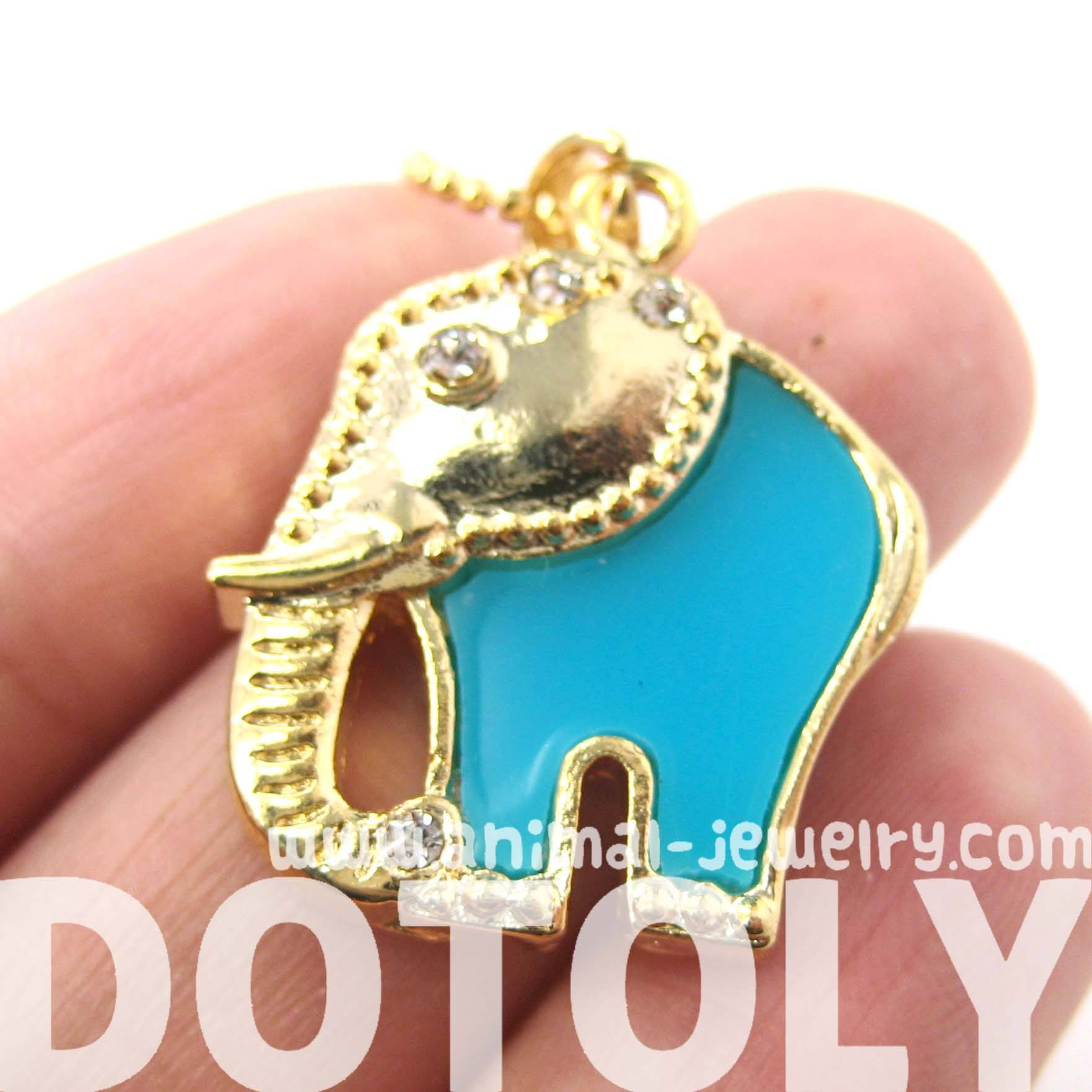 Abstract Elephant Animal Pendant Necklace in Gold and Turquoise | DOTOLY