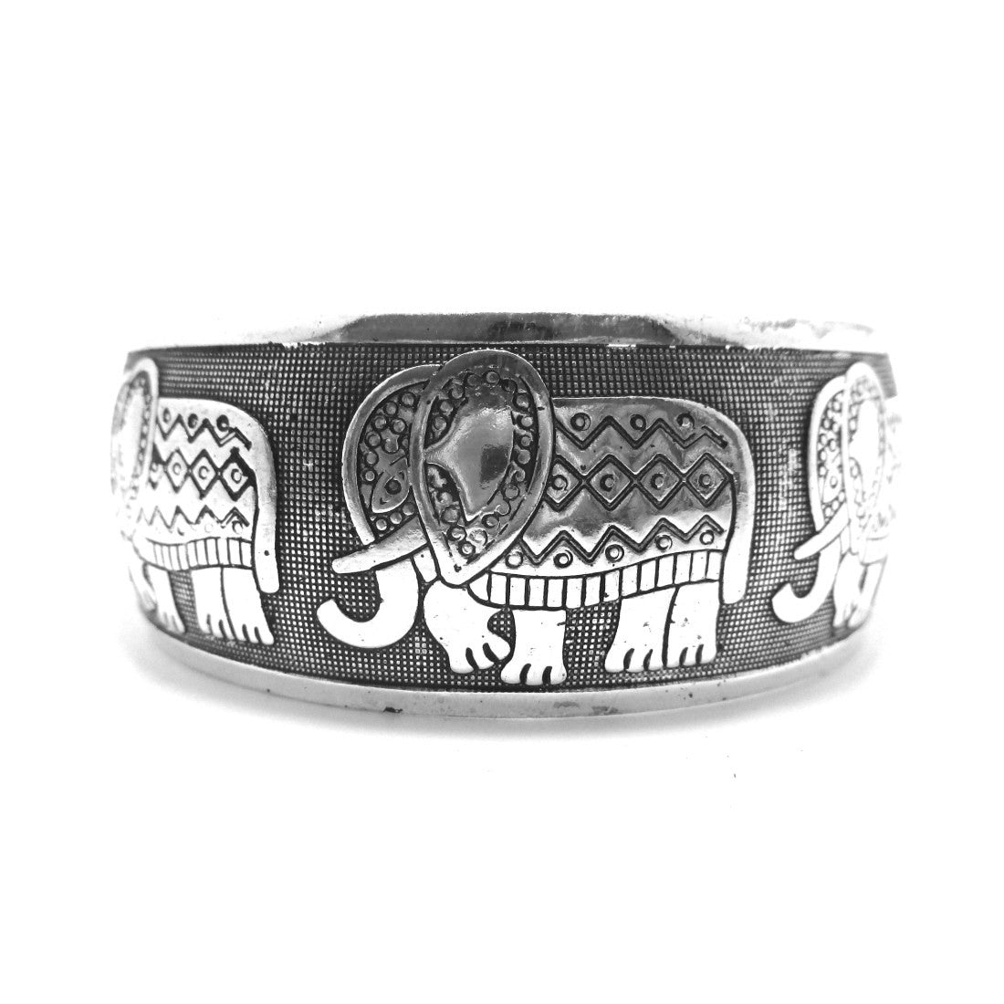 Abstract Elephant Shaped Bangle Cuff Bracelet in Silver