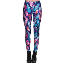 Abstract Feather Digital Print Legging Pants in Pink Blue and Purple