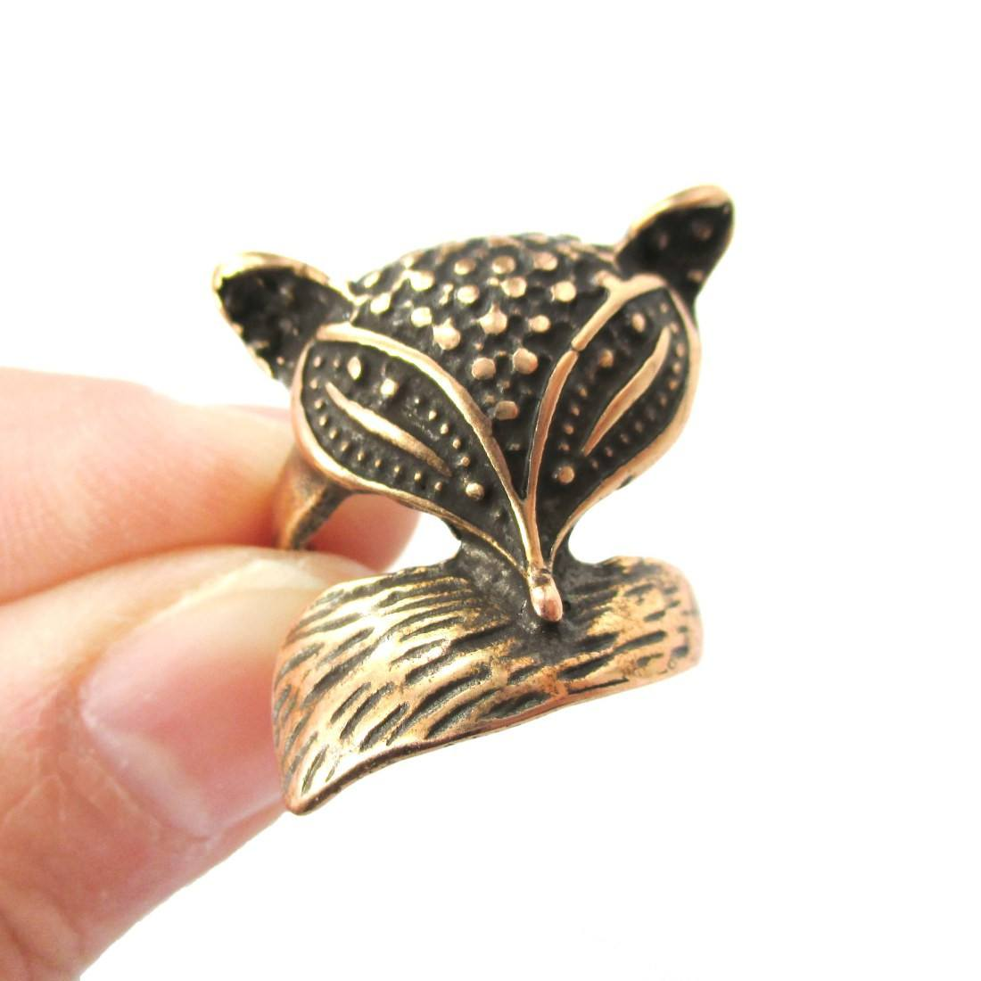 Abstract Fox Face Shaped Animal Wrap Around Ring in Bronze | US Size 5