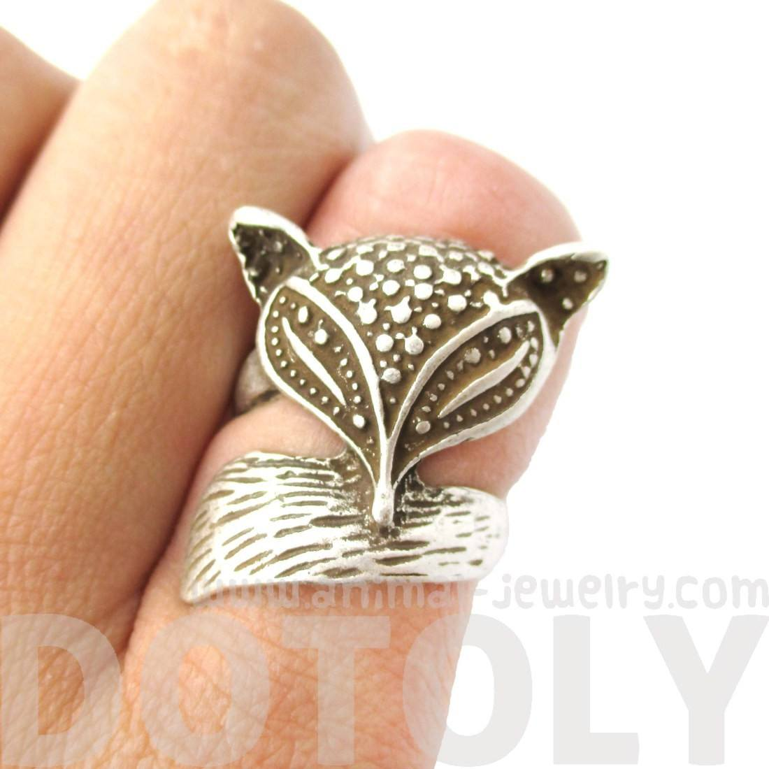Abstract Fox Face Shaped Animal Wrap Around Ring in Silver | US Size 5