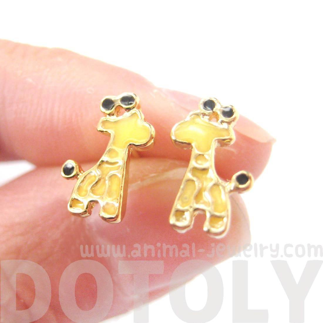 Abstract Giraffe Shaped Animal Themed Stud Earrings in Yellow | DOTOLY