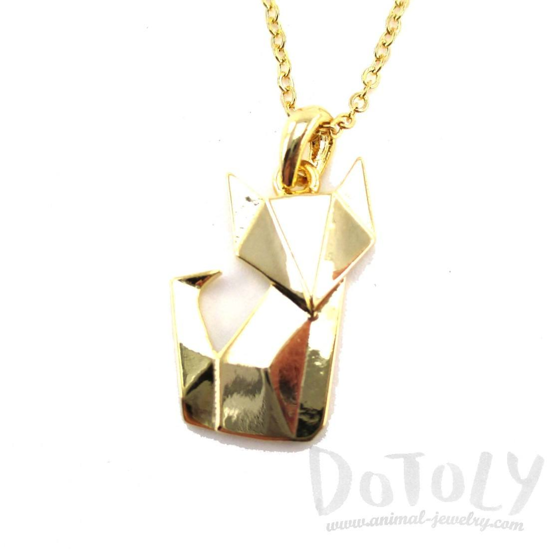 Abstract Origami Fox Shaped Pendant Necklace in Gold