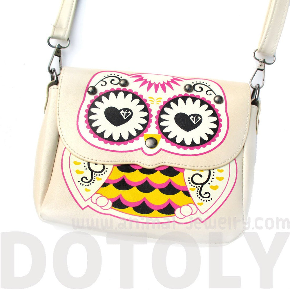 Abstract Owl Shaped Animal Themed Cross body Bag for Women in Cream