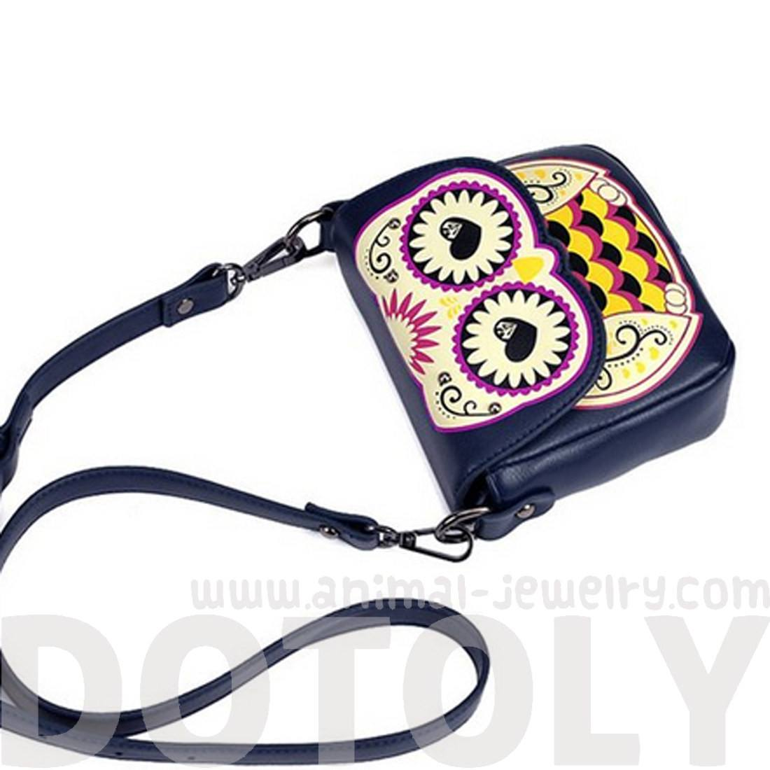 Abstract Owl Shaped Animal Themed Cross body Bag for Women in Navy