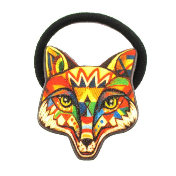 Abstract Tribal Print Fox Face Glittery Hair Tie Ponytail Holder