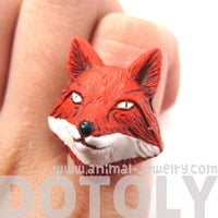 Adjustable Fox Head Shaped Handmade Porcelain Ceramic Animal Ring | DOTOLY | DOTOLY