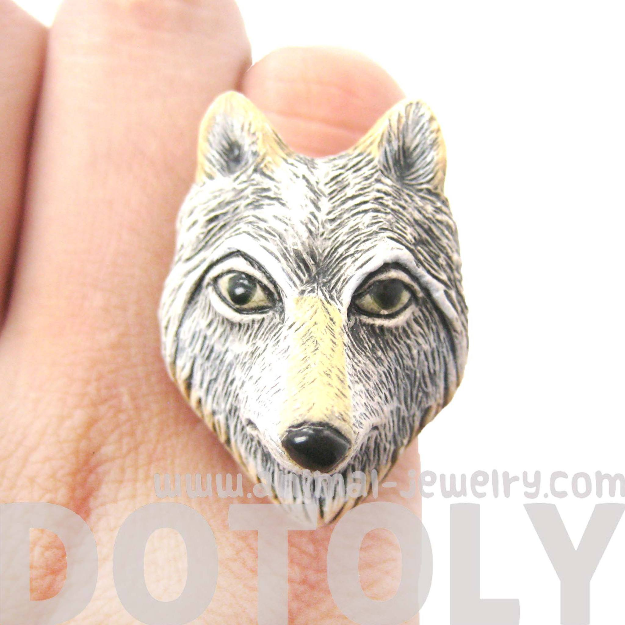 Adjustable Lone Wolf Shaped Porcelain Ceramic Animal Ring | Handmade