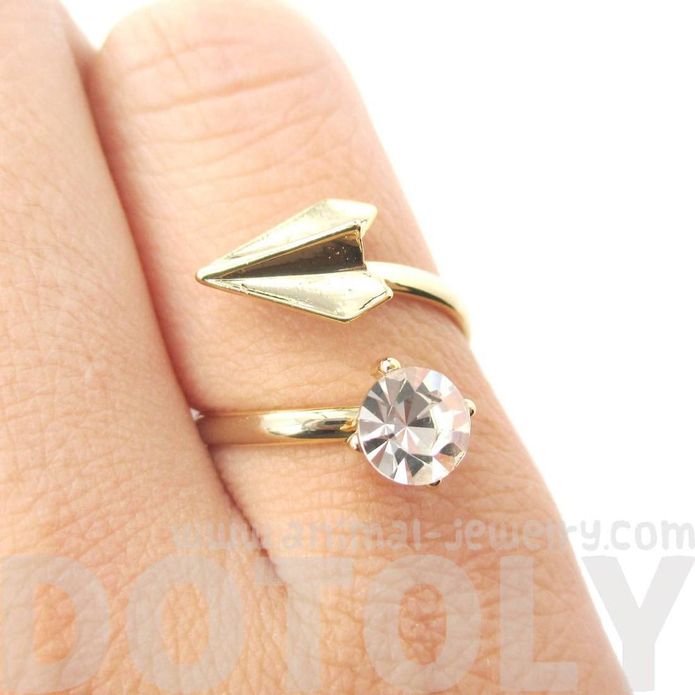 Paper Airplane Origami Adjustable Wrap Ring in Gold with Rhinestones