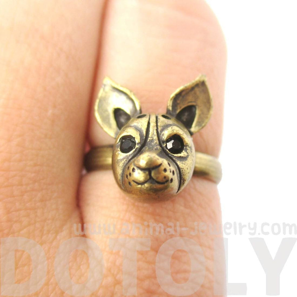 Adjustable Puppy Shaped Animal Ring in Brass | Gifts for Dog Lovers