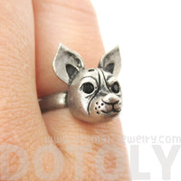 Adjustable Puppy Shaped Animal Ring in Silver | Gifts for Dog Lovers