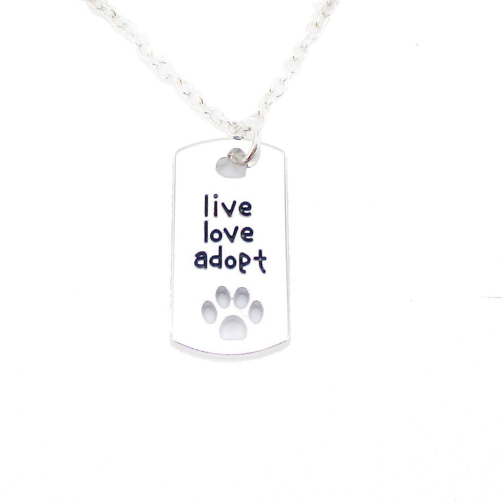 """Live Love Adopt"" Dog Tag Shaped Paw Print Pendant Necklace 