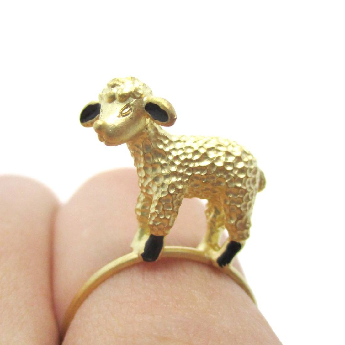 Adorable Baby Lamb Sheep Shaped Animal Ring in Gold