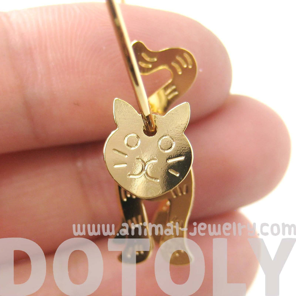 Adorable 3D Kitty Cat Shaped Dangle Hoop Earrings in Gold | Animal Jewelry | DOTOLY