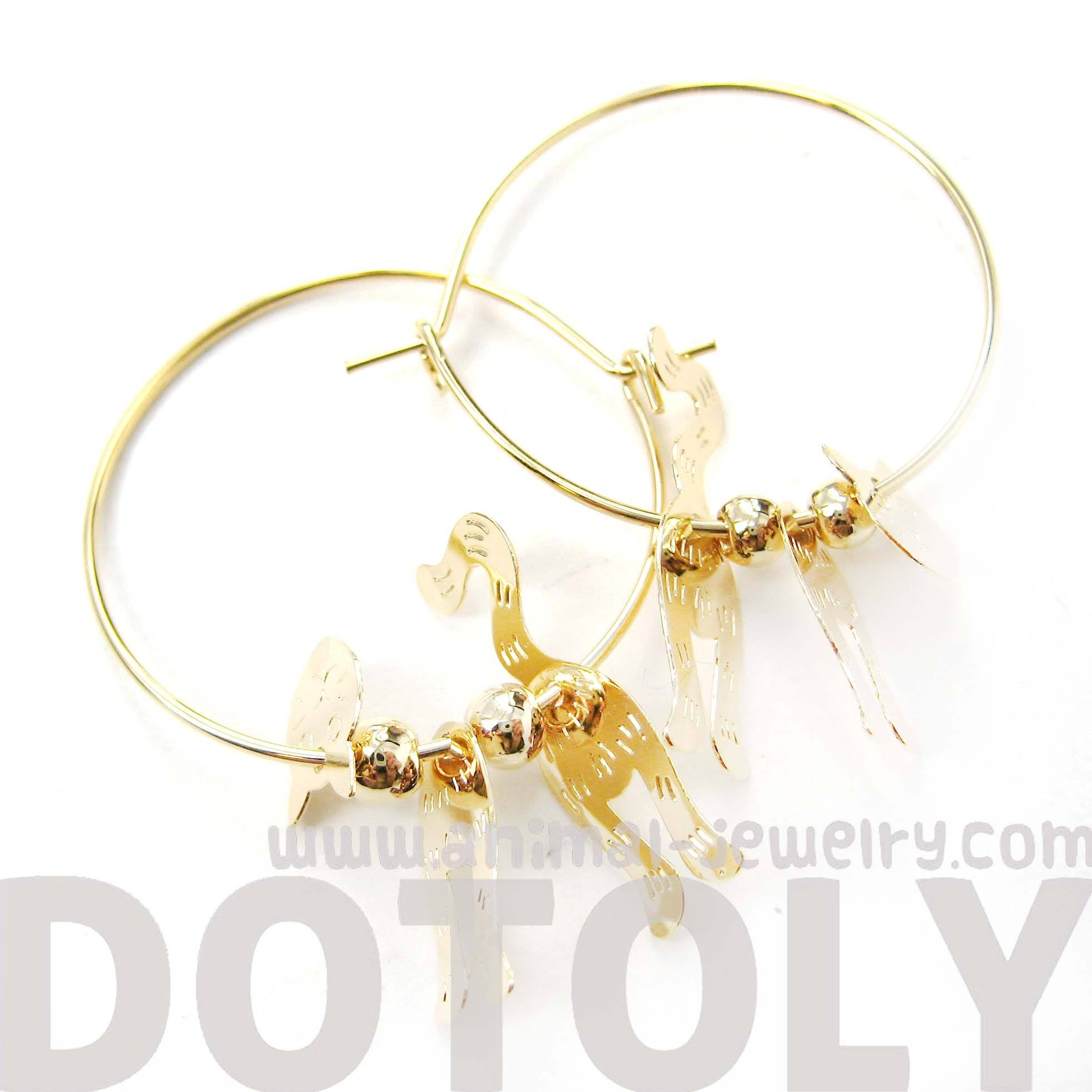Adorable 3D Kitty Cat Shaped Dangle Hoop Earrings in Gold | Animal Jewelry