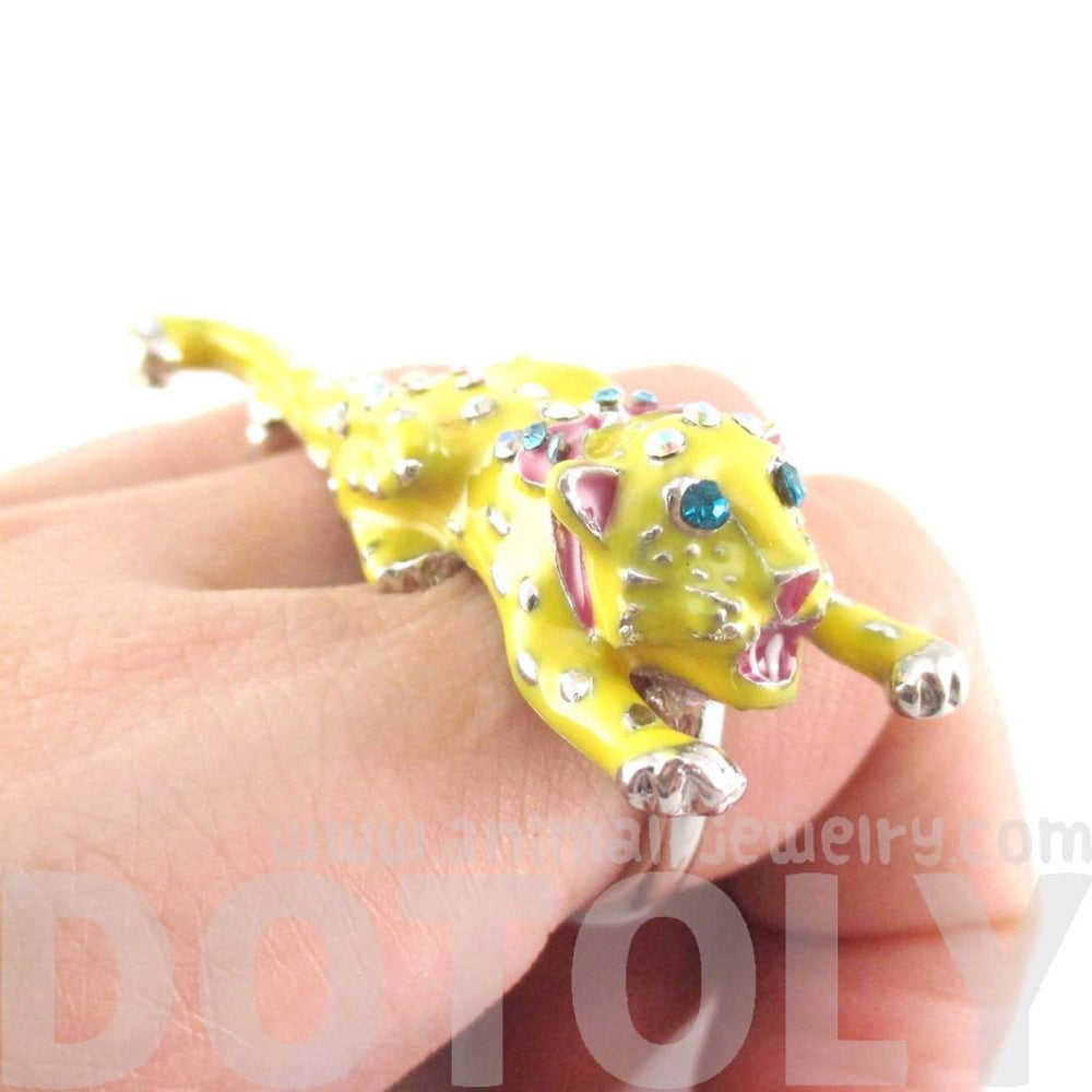 Adorable 3D Leopard Cheetah Shaped Double Finger Enamel Ring | DOTOLY | DOTOLY