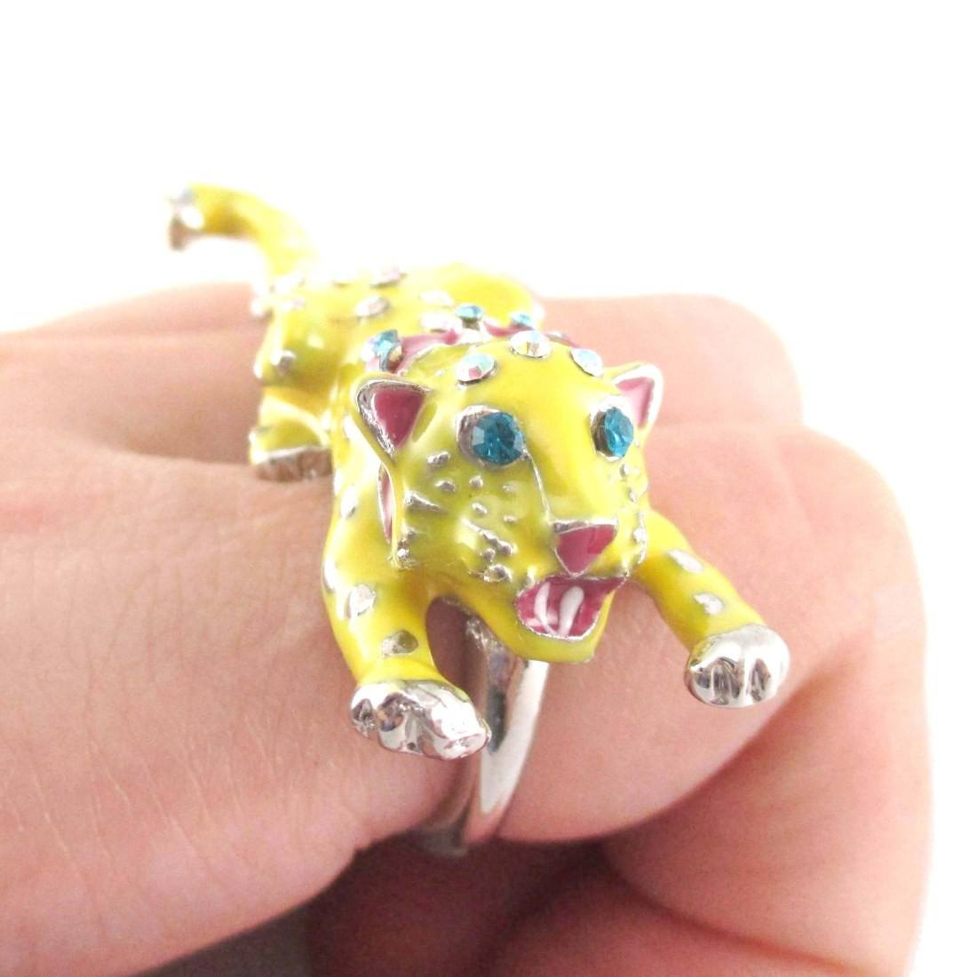 3D Leopard Cheetah Shaped Double Finger Enamel Ring