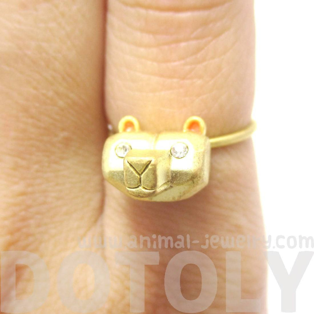 Adorable 3D Polar Bear Head Shaped Animal Ring in Gold