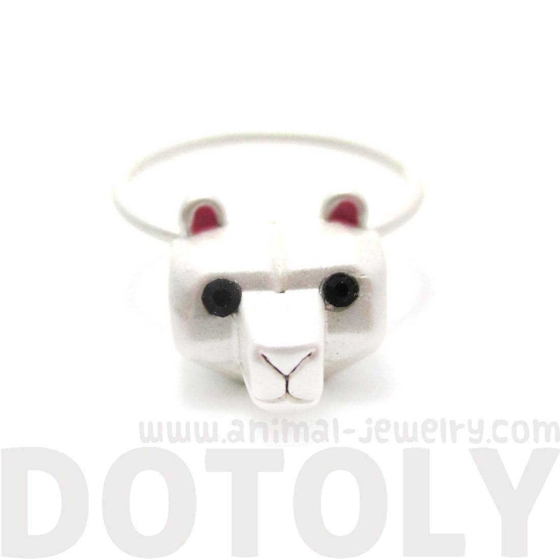 Adorable 3D Polar Bear Head Shaped Animal Ring in Silve