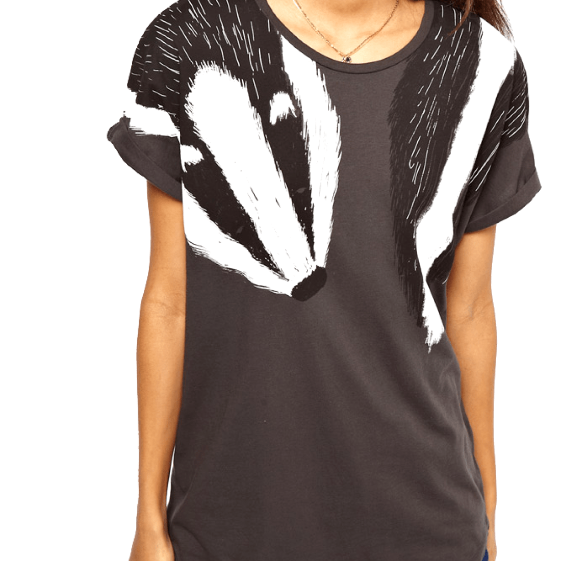 Adorable Animal Inspired Badger Scarf Print Graphic T-Shirt for Women