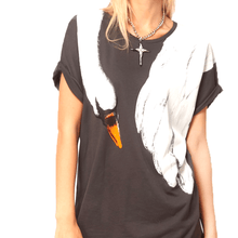 Animal Inspired Swan Bird Scarf Print Graphic Tee T-Shirt for Women