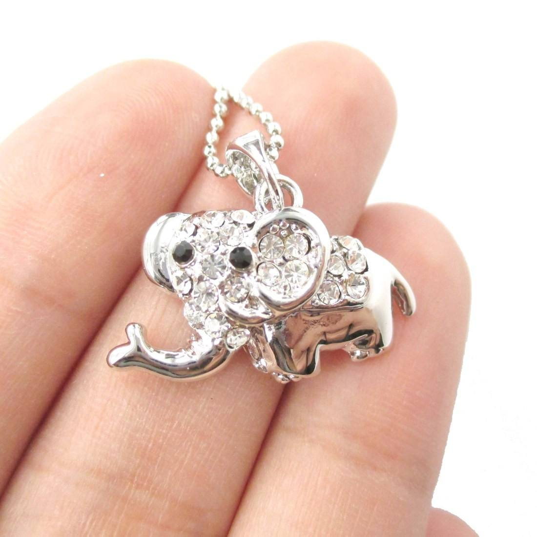 Baby Cartoon Elephant Shaped Pendant Necklace in Silver