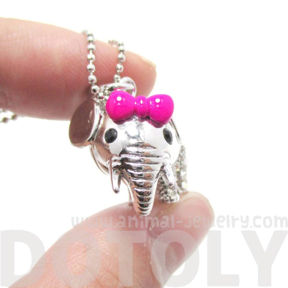 3D Baby Elephant With A Bow Shaped Pendant Necklace