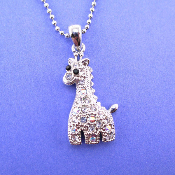Adorable Baby Giraffe Shaped Rhinestone Charm Necklace