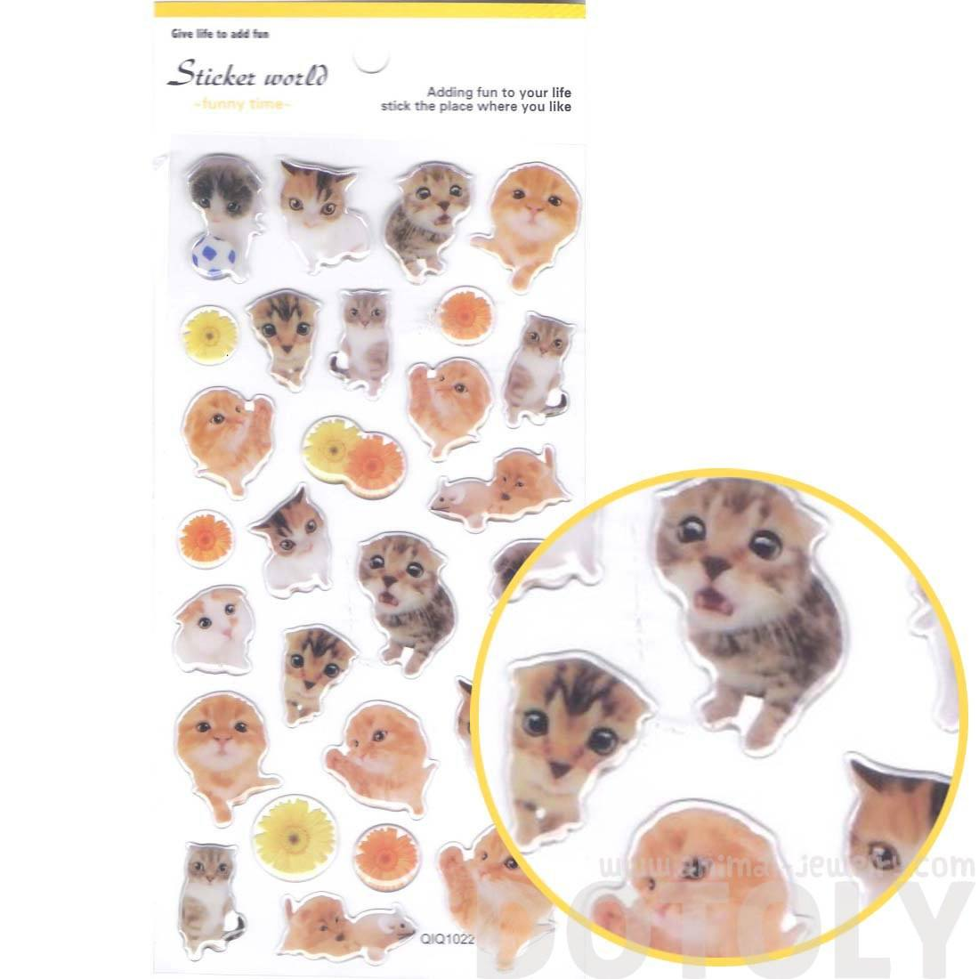 Adorable Baby Kitten Animal Shaped Cat Print Jelly Transparent Sticker