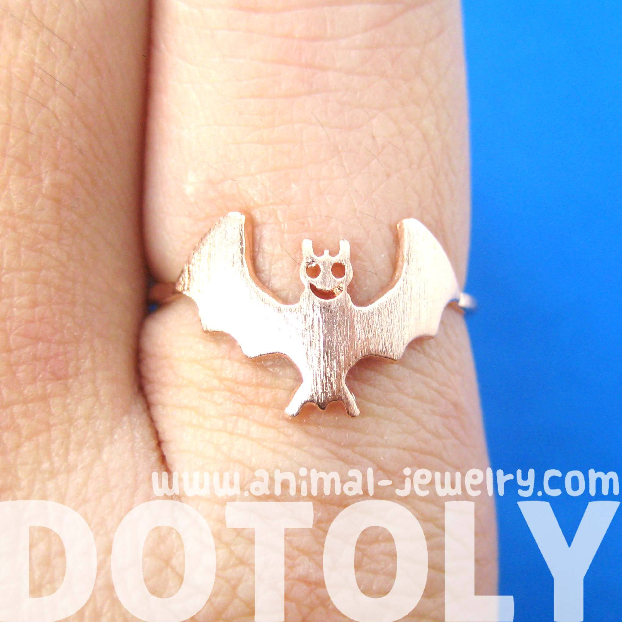 Adorable Bat Shaped Animal Themed Ring in Rose Gold | DOTOLY