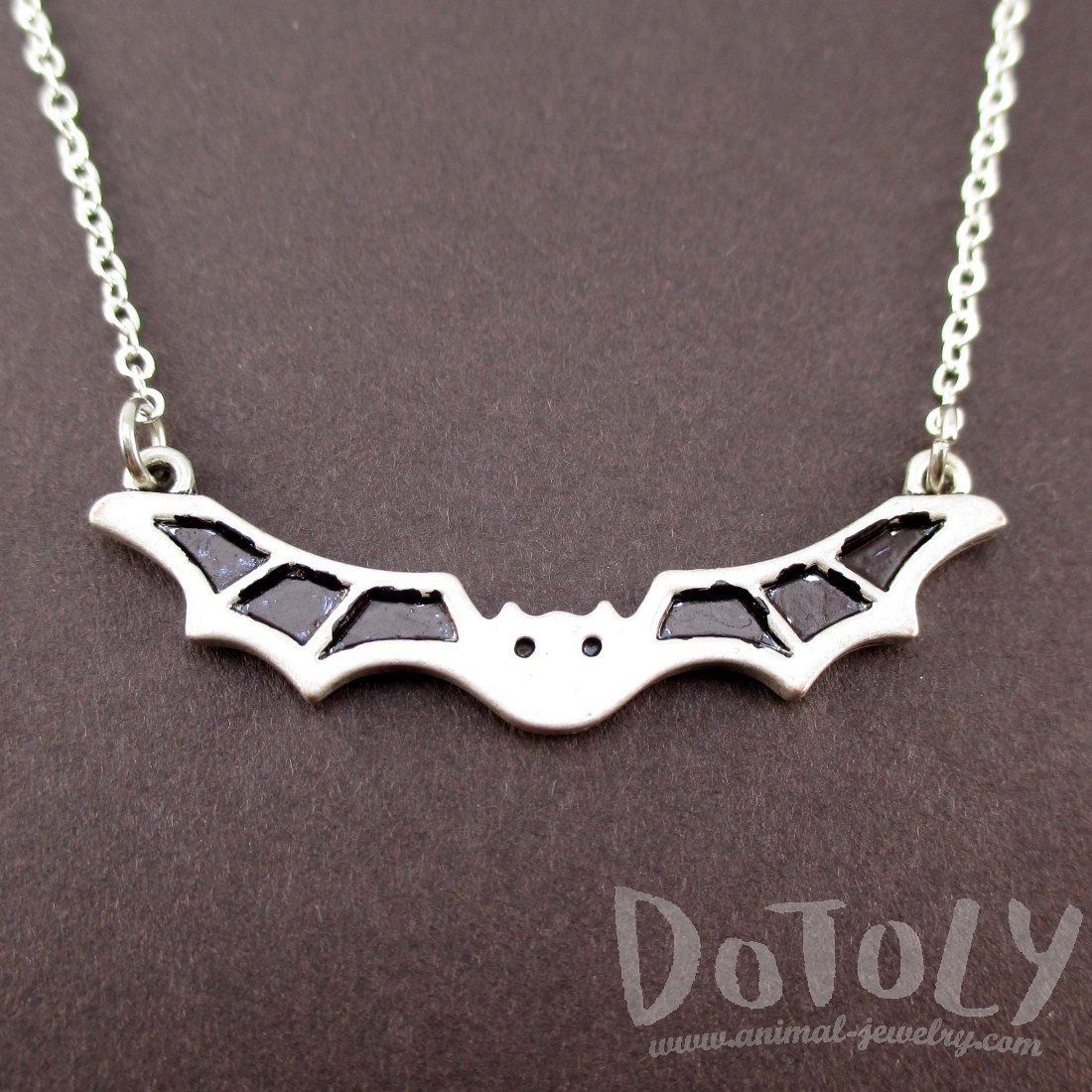 Adorable Bat Shaped Pendant Necklace in Silver | Animal Jewelry