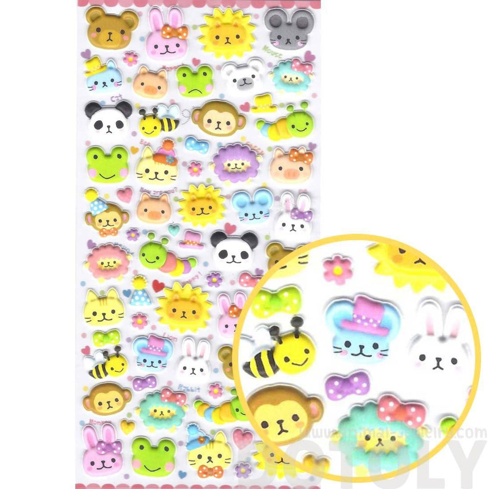 Adorable Bear Lion Bunny Monkey Frog Animal Face Shaped Puffy Stickers