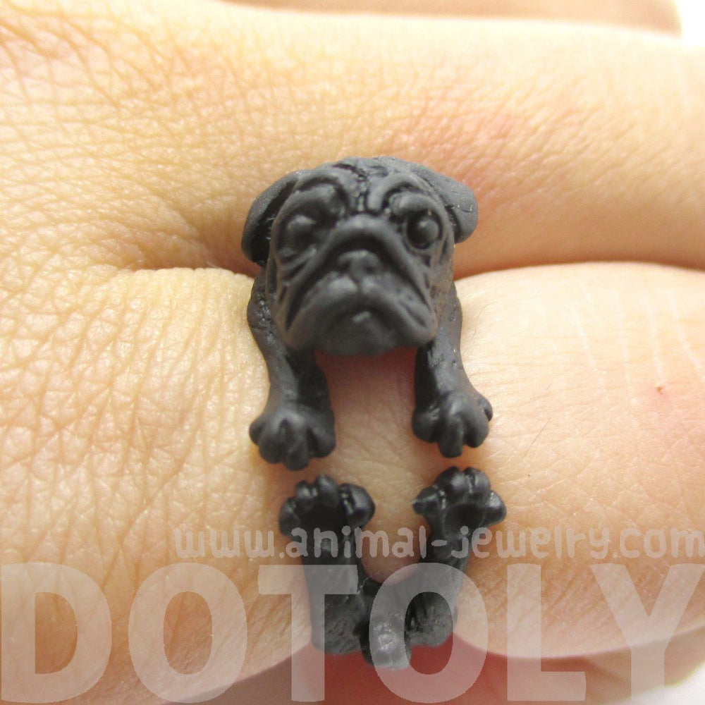 Pug Puppy Dog Shaped Animal Wrap Around Ring in Black