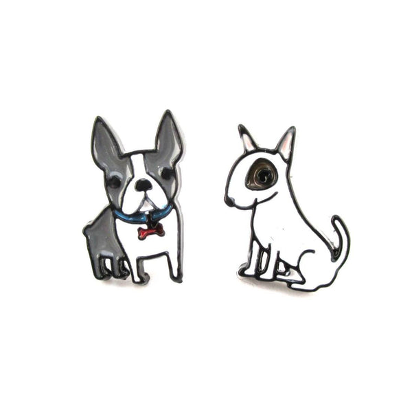 Boston and Bull Terrier Puppies Shaped Stud Earrings | Animal Jewelry