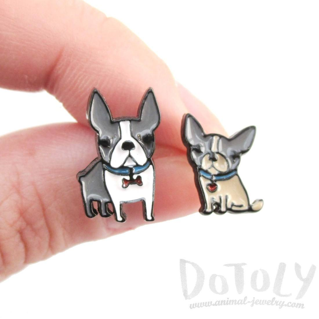 Adorable Boston Terrier Puppies Shaped Stud Earrings | Animal Jewelry