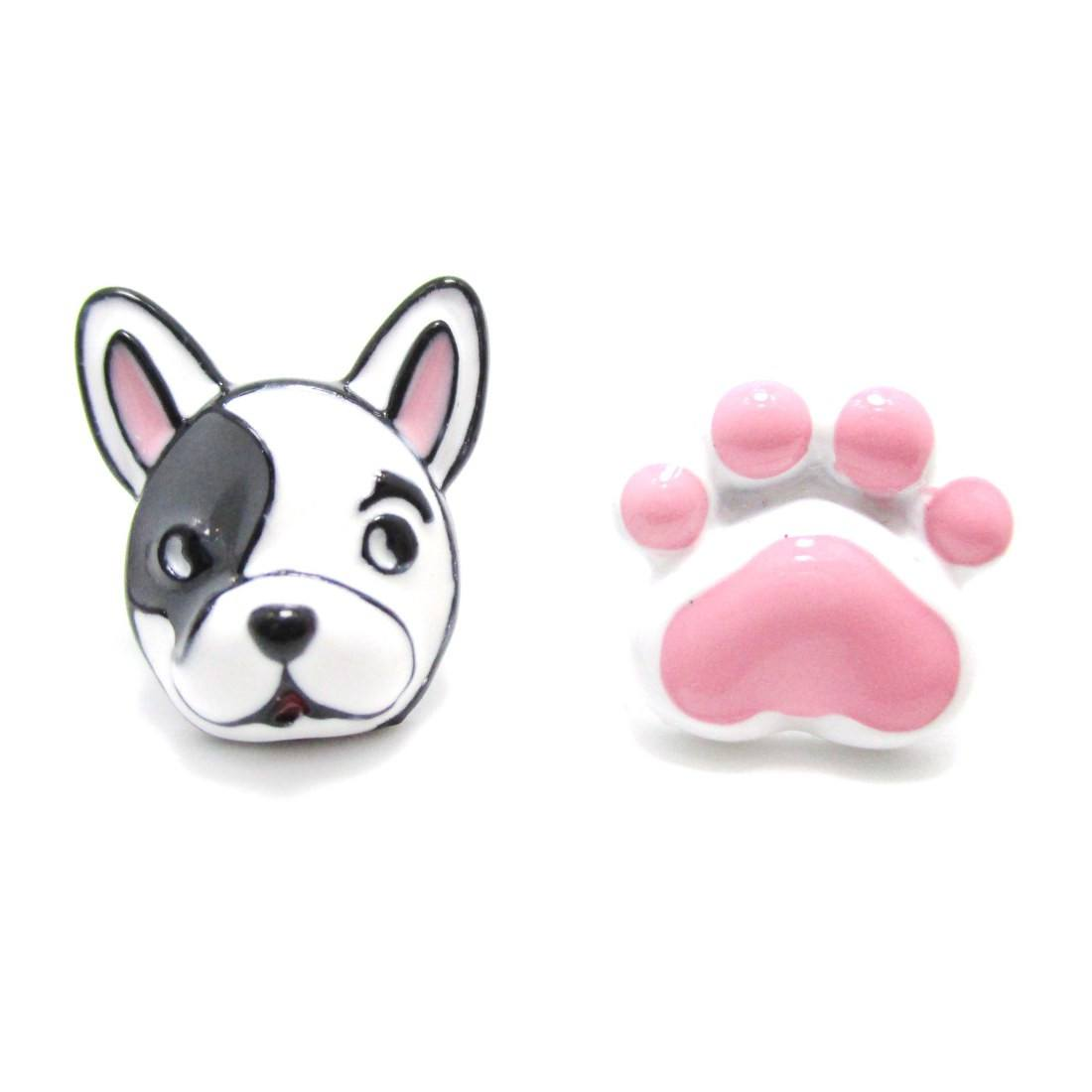 Boston Terrier Face and Paw Shaped Earrings in Pink