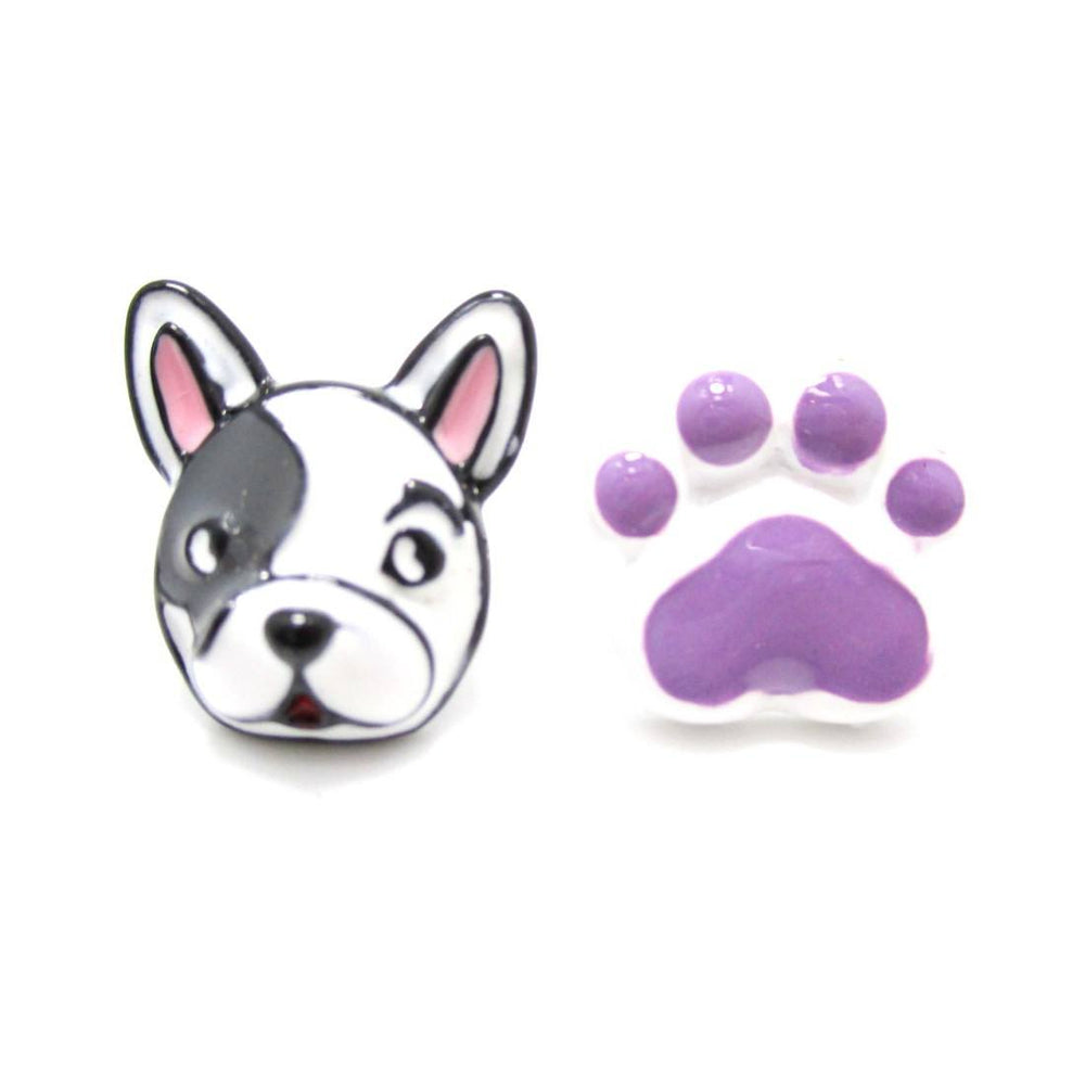 Boston Terrier Face and Paw Shaped Earrings in Purple