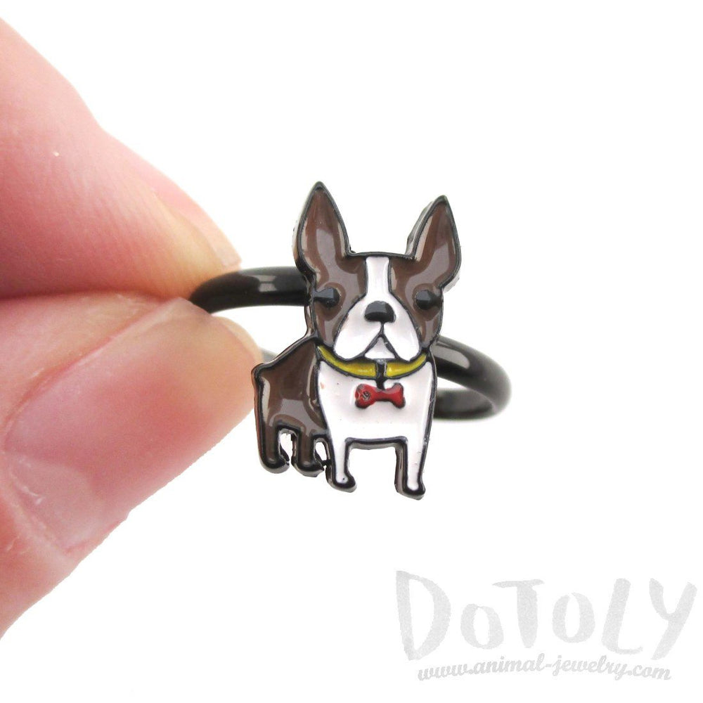 Adorable Boston Terrier Puppy Shaped Adjustable Ring in Brown and white | DOTOLY | DOTOLY