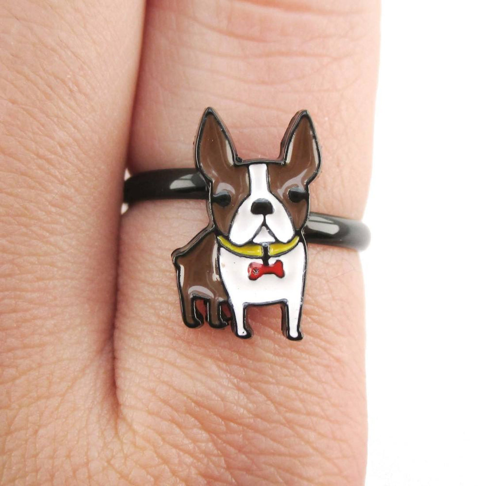 Adorable Boston Terrier Dog Shaped Adjustable Ring in Brown and White