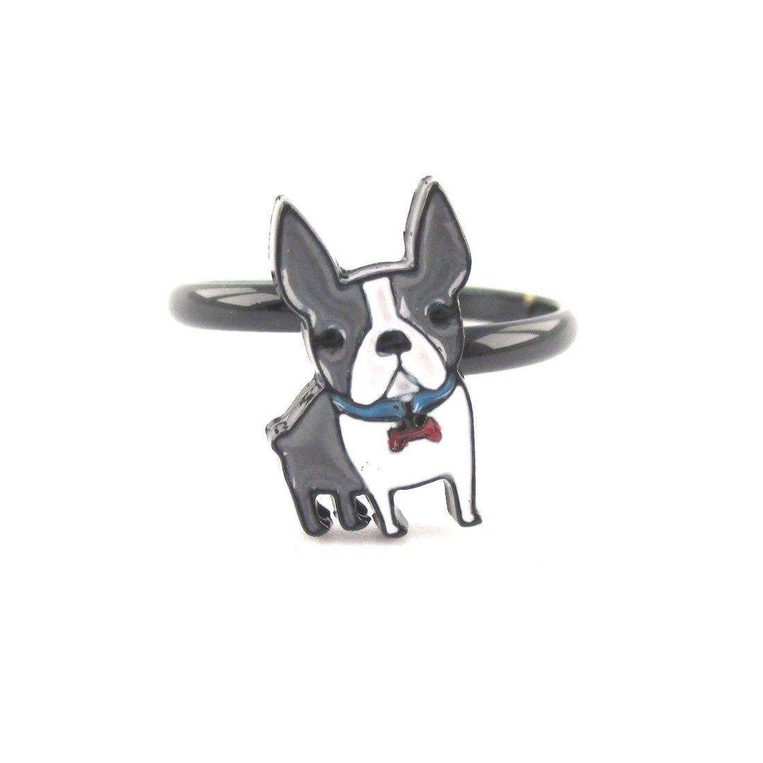 Adorable Boston Terrier Dog Shaped Adjustable Ring in Grey and white