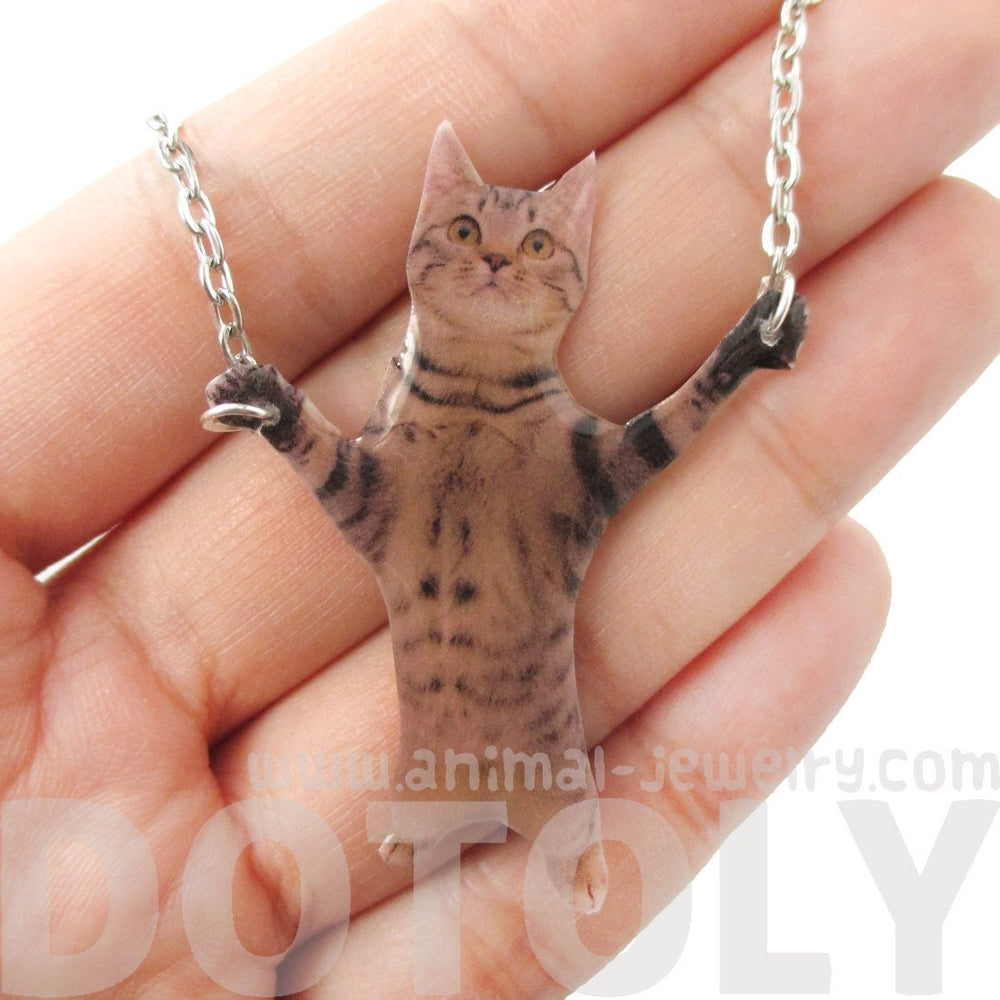 Adorable Brown Tabby Kitty Cat Standing Up Shaped Pendant Necklace