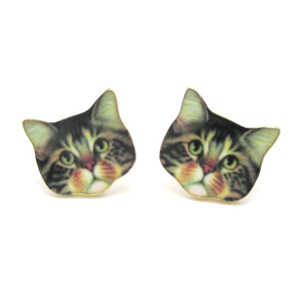 Adorable Brown Tabby Kitty Cat Face Shaped Stud Earrings