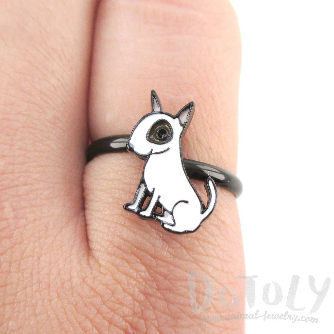 Adorable Bull Terrier Dog Shaped Enamel Adjustable Ring | DOTOLY