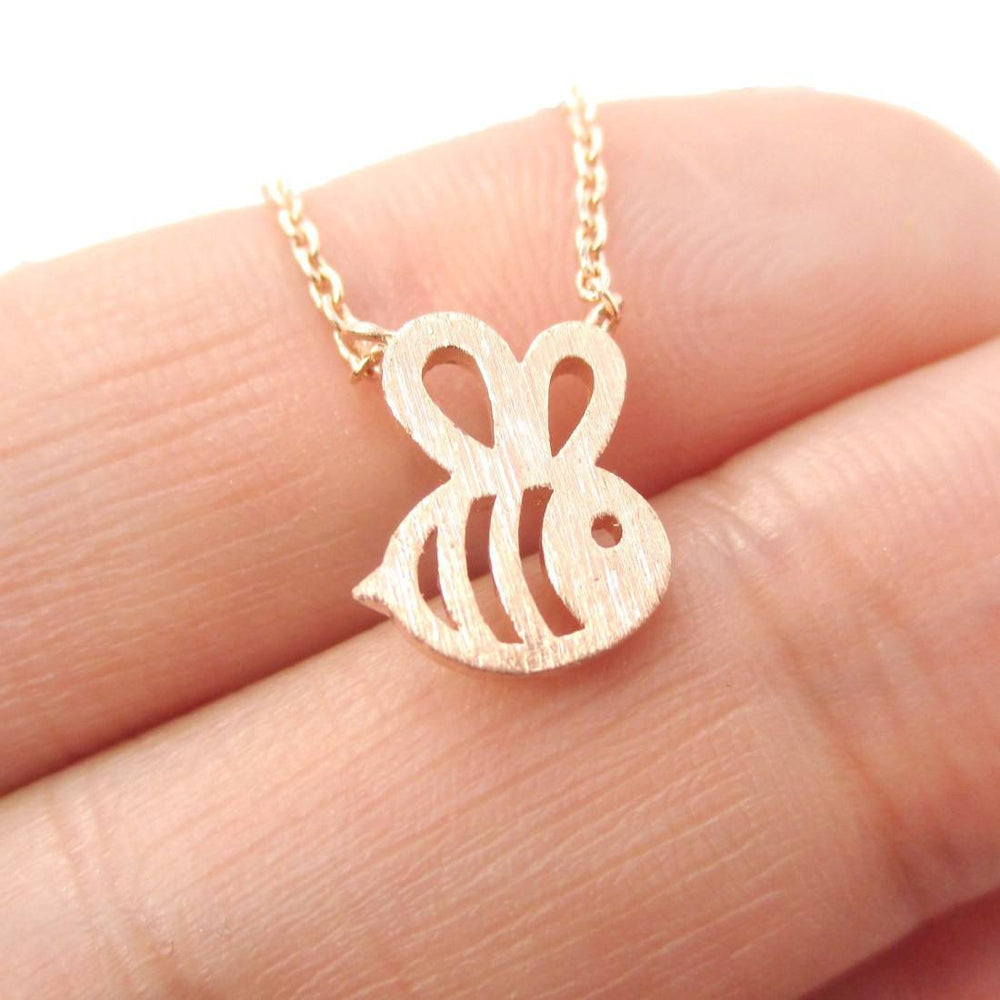Cute Bumble Bee Shaped Charm Necklace in Rose Gold | Animal Jewelry