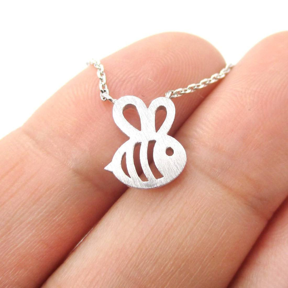 Adorable Baby Bumble Bee Insect Shaped Charm Necklace in Silver