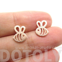 Bumble Bee Insect Shaped Stud Earrings in Rose Gold