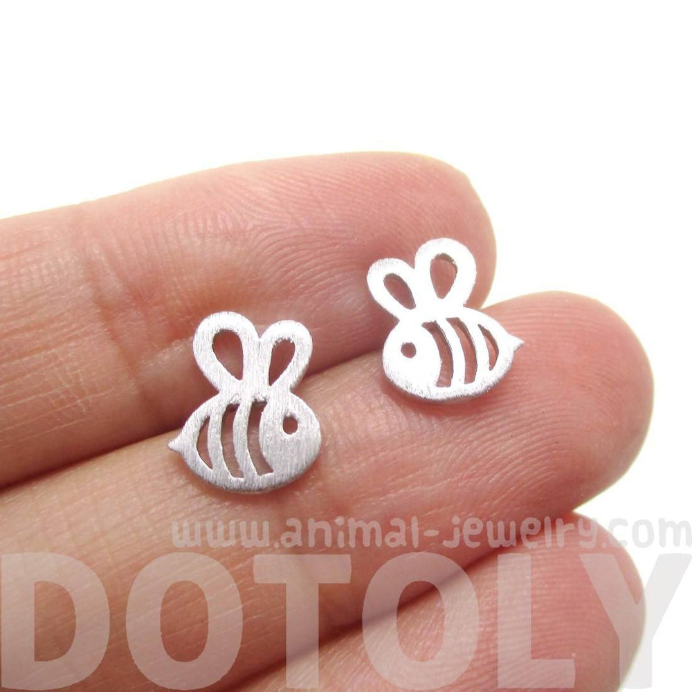 Cute Bumble Bee Insect Shaped Stud Earrings in Silver